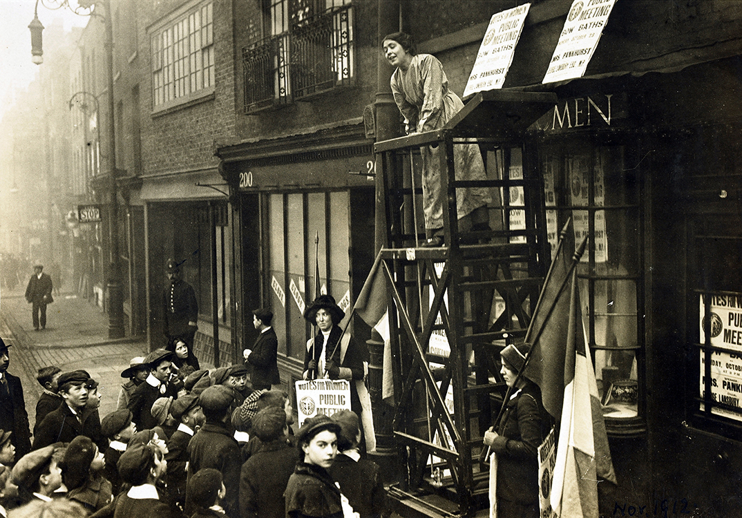 Sylvia Pankhurst launching her head quarters on Bow Road, Tower Hamlets