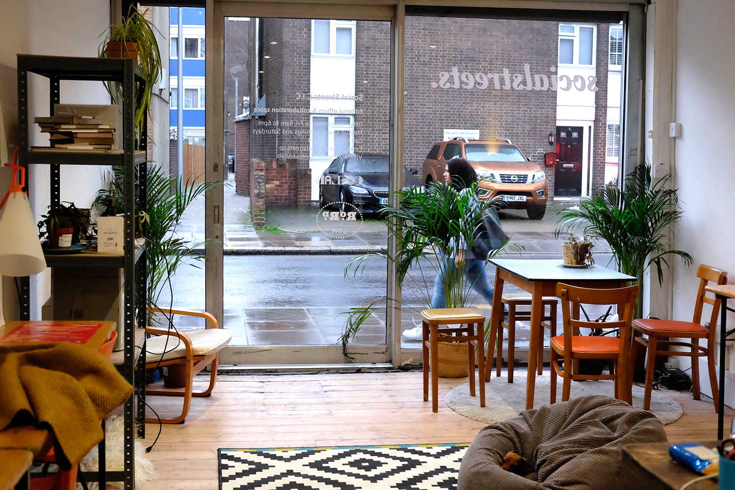 Mid-century and vintage furniture at Social Streets Co-Lab coworking space on Roman Road