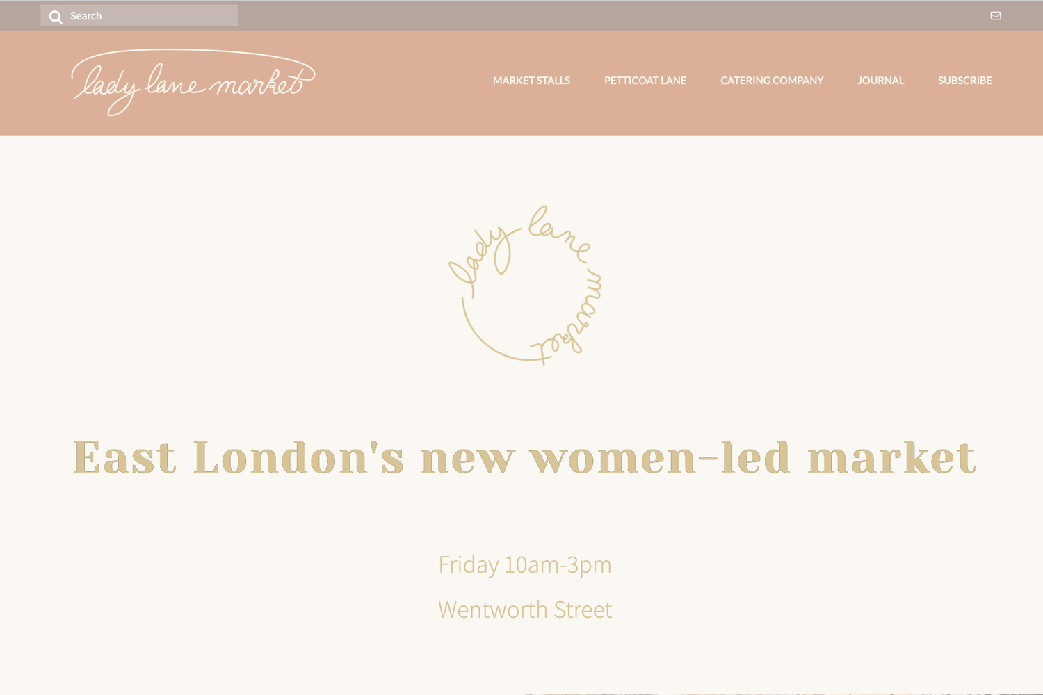 Website design for Lady Lane Market