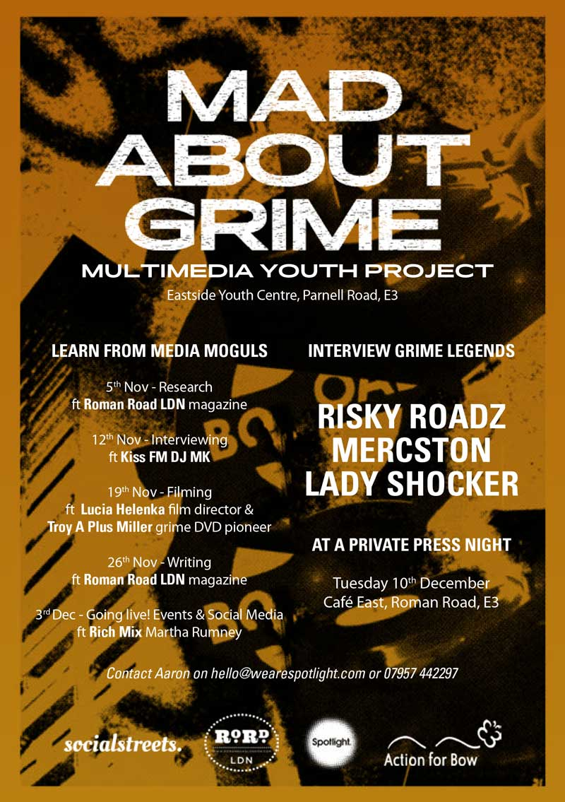 Mad About Grime, a digital youth project delivered by Social Streets C.I.C in partnership with Spotlight Eastside