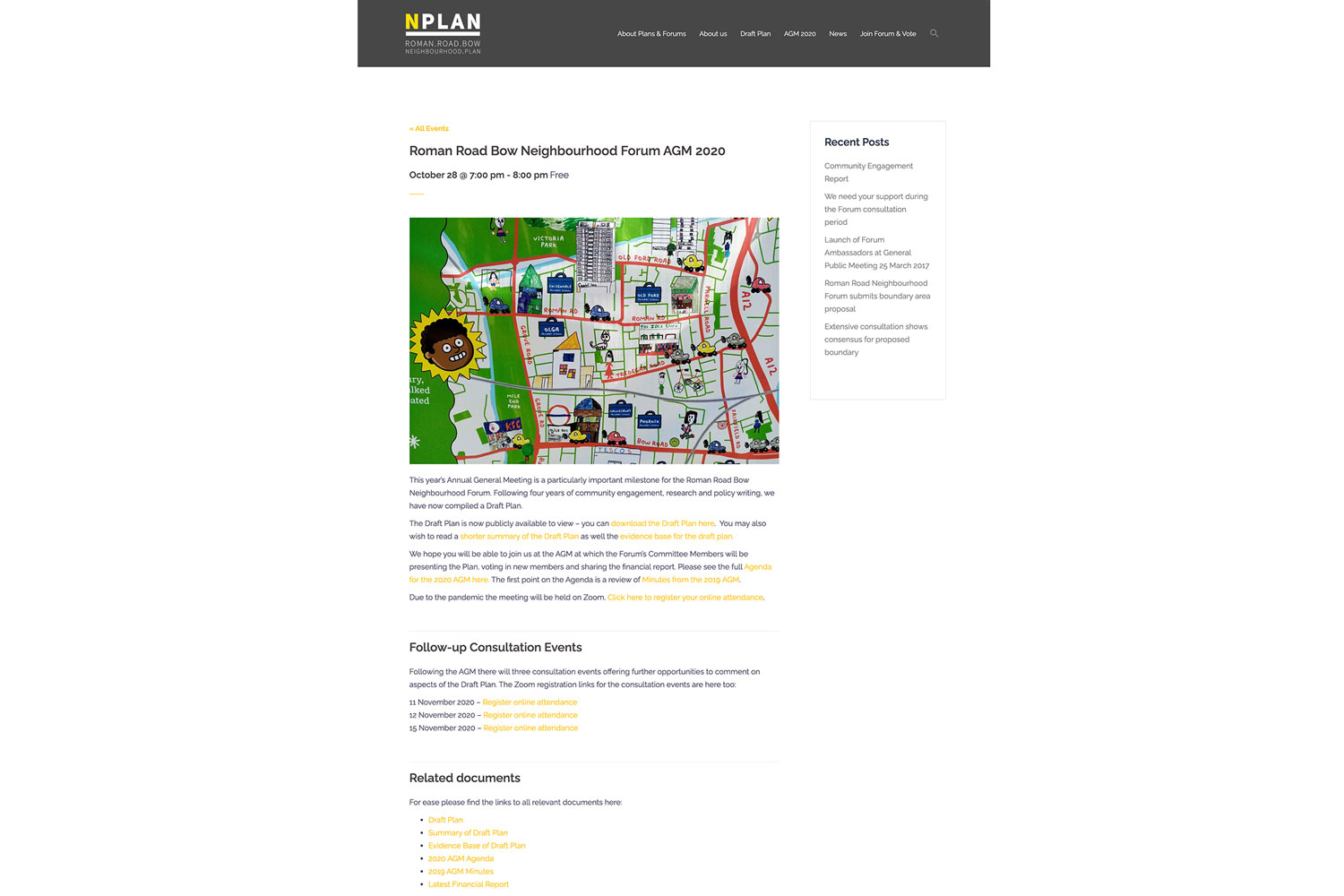 Neighbourhood Plan website event page