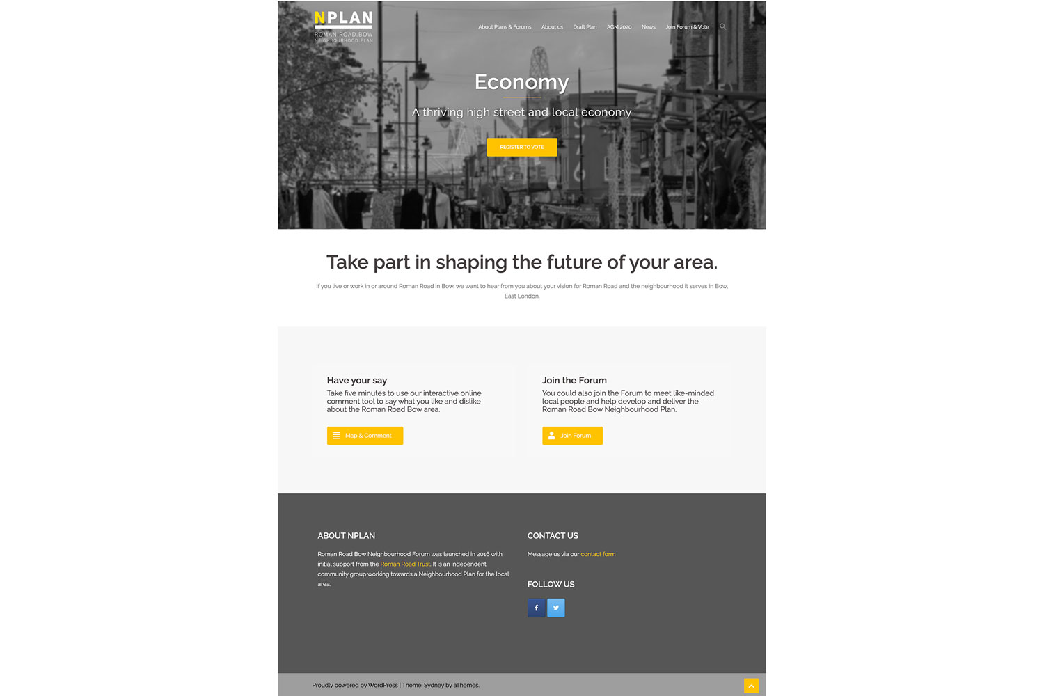 Neighbourhood Plan website, homepage